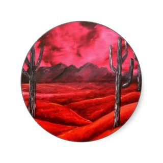 southwestern oil landscape painting stickers