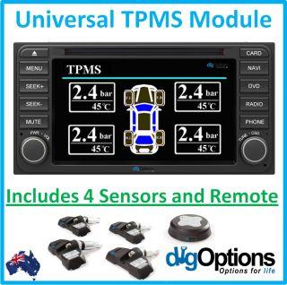 TPMS Tire Tyre Pressure Monitoring System 4 Sensors Car Navigation DVD