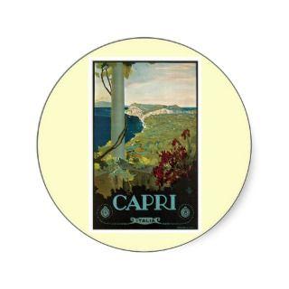 Vintage Capri Italia Italy Poster Art Stickers