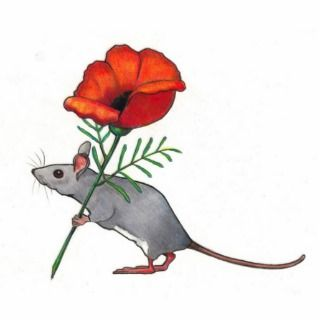 Mouse Holding Red Flower: Color Pencil Art Photo Cutouts