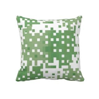 Green Suare Pixel Pattern Throw Pillow