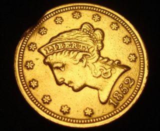 1852 $2 1 2 Liberty Head Gold Coin Quarter Eagle RARE