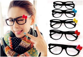 S263 Black Frame Lovely Cat 6 Color Bow Changable Cat Sunglasses Frame