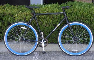 Bike Fixie Bike Road Bicycle 58cm Black w Deep 43mm Blue Rims