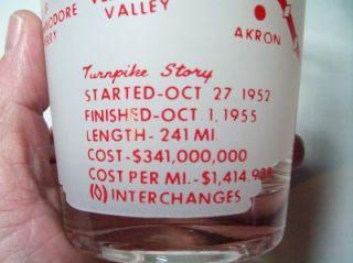 Vtg Ohio Souvenir ABC Motels Turnpike Glass 1952 1955