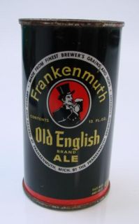 Frankenmuth Old English Ale Red Oval Flat Top Beer Can Mich MI RARE 12