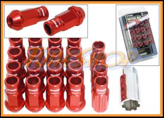 Work Racing RS R Extended Forged Aluminum Lock Lug Nuts 12x1 5 1 5 Red