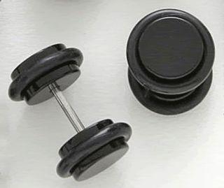 Pair Black Acrylic Cheater Plugs Simulate 0g Piercings