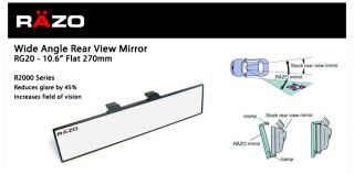 Razo Flat Wide Angle Rear View Mirror Clip on Universal 270 Mm