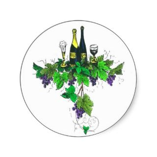 Wine bottles on grapes and leaves round sticker
