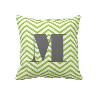 Avocado Green Ivory and Gray Monogram Zig Zag Pillows