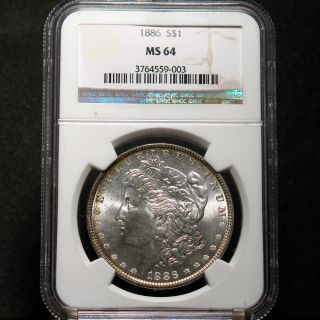 1886 P Morgan Silver Dollar NGC MS64 Rainbow Rim If