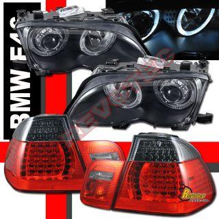 02 03 04 05 BMW E46 4DR 325i 330i HALO PROJECTOR HEADLIGHTS & LED TAIL