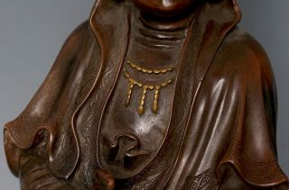 Large Antique Chinese 18th C Qing Bronze Guanyin Budda Statue Figure