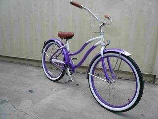 26 Aluminum Frame Beach Cruiser Bicycle Bike Purple
