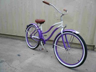 26 Aluminum Frame Beach Cruiser Bicycle Bike Purple