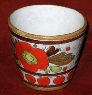 Vintage 1954 Italy Flower Pot Pottery Glazed Hand Crafted Orange