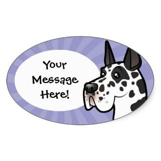 Cartoon Great Dane (cropped) Oval Sticker