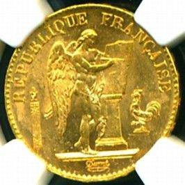 1893 FRENCH ANGEL GOLD COIN 20 FRANCS * NGC CERTIFIED GENUINE & GRADED