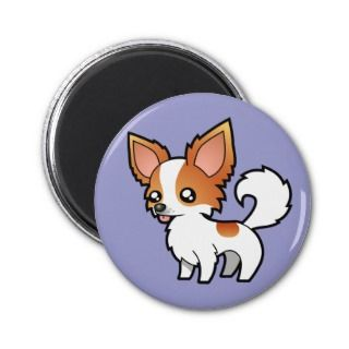 Cartoon Chihuahua (red parti long coat) magnets by SugarVsSpice