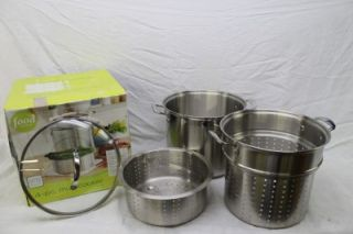 Food Network 12 Qt Quart 4 Piece PC Stainless Steel Multi Cooker