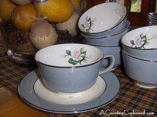 Vntg Homer Laughlin Cup Saucer Sets White Rose Gray 342