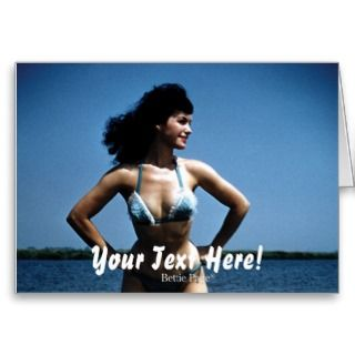 Bettie Page in a Blue Bikini Standing Beside Water cards by bettiepage