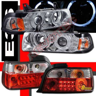 BMW E36 318i 325i 328i 4DR SEDAN HALO PROJECTOR HEADLIGHTS & LED TAIL