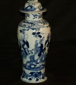 19th Century Chinese Porcelain Blue and White Vase Cover C1880