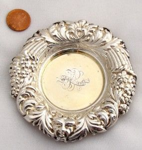 Antique Solid Sterling Silver Coaster Pin Tray Nut Bon Bowl Dish