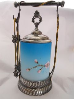 BARBOUR VICTORIAN SILVER PLATED PICKLE JAR W/ CHERRY BLOSSOM CASED