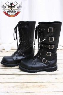 SALE (IN STOCK) Visual Kei/Punk Goth 5 Bucke Strap Combat Army Boots