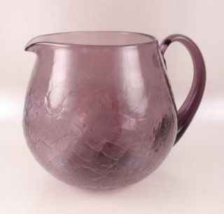 Blenko Crackle Glass Amethyst Wide Mouth Pitcher 3750