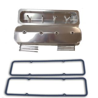 Fabricated Aluminum SBC Valve Covers Center Bolt w/ Rubber Gaskets