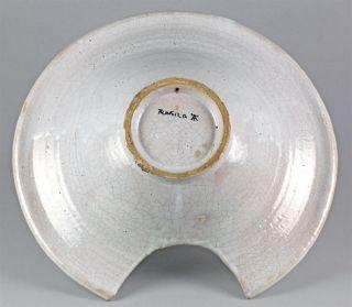Antique Spanish Maiolica Talavera Crested Barbers Bowl 19th C