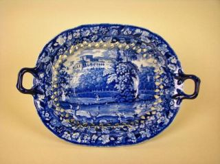Dark Blue Staffordshire Pierced rim Chestnut Basket Transferware 19th