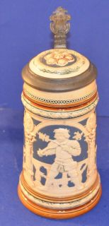 1890s Mettlach Villeroy Bach Cameo Relief Beer Stein