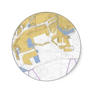 Los Angeles, CA Nautical Harbor Chart Round Sticker
