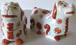 Pair Vintage Chinese Porcelain Fu Foo Dog Boxes