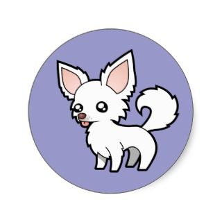 Cartoon Chihuahua (white long coat) stickers by SugarVsSpice