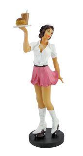 Hot Retro Look Carhop Girl Statue Car Hop Figurine
