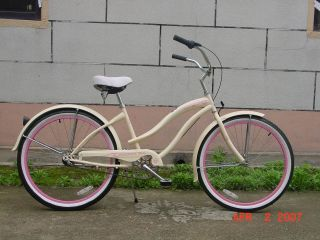 26 3 Speed Beach Cruiser Bicycle Bike Rover Lady Vanilla