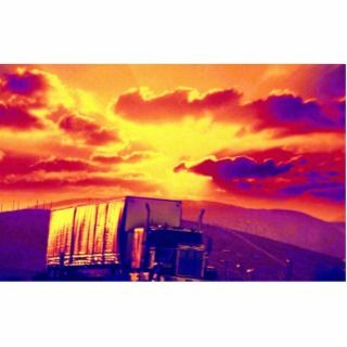 Semi truck and sunset, California Photo Cut Out