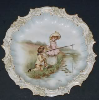 Limoges France Antique Hand Painted Portrait Plate 8 inches Artist