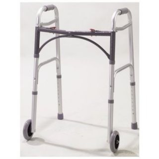 DELUXE FOLDING WALKER TWO BUTTON WITH 5 INCH WHEELS   1021010210 1