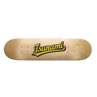 Tsunami script logo in Gold Skateboard Deck