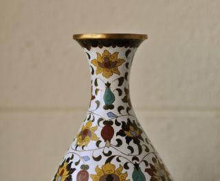 Large Antique Chinese Cloisonne Bottle Vase Copper Base