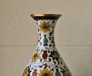 Large Antique Chinese Cloisonne Bottle Vase Copper Base