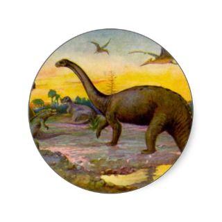 Dinosaur Pterodactyl / Brontosaurus Landscape Stickers