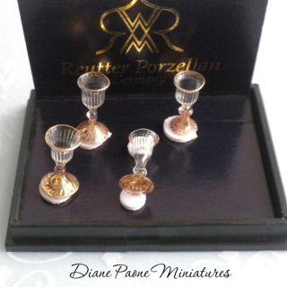 Porcelain Victorian Wine Glass Set with Gold Rims  Dollhouse Miniature